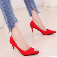 Korean-style thin heeled pointed suede crystal shoes women high heels (Merah)