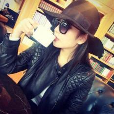 Korean Style Women Slim Fit Locomotive Leather Jacket Female Mandarin Collar Leather Coat Outwear Blazer-Black - Intl
