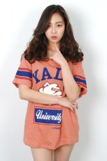 Korean Style Yale Printing Long T-shirt (Coral) (Intl)