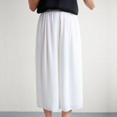 Korean Version Double-layer Chiffon High Waist Wide Leg Pants (White)
