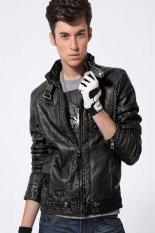 Korean Vintage Style Men Long Sleeve Stand Neck Motorcycle Coat PU Leather Zipper Warm Overcoat Jacket Black (EXPORT)