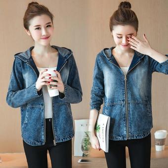 Korean Women Denim Hoodie Youth Long Sleeve Zipped Jacket Student  Embroidery Cowboy Coat Zip Wraps College ef7f299b9a
