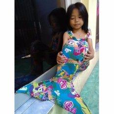 Kostum Renang Mermaid - Baju Putri Duyung Motif Little Pony [BIRU]