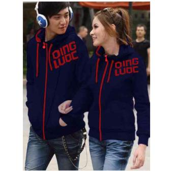 kyoko fashion jaket couple red stripe-(black)