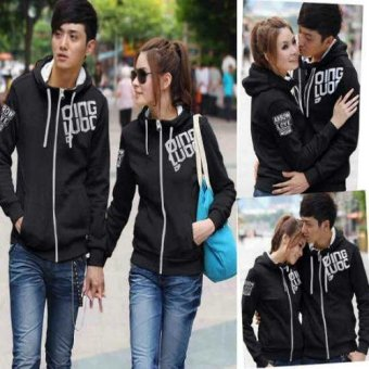kyoko fashion jaket couple stripe-(blacak)