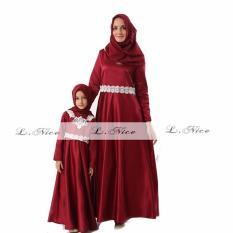 L Nice Gamis Kaftan Dress Hijab Anak Red 7-12Tahun