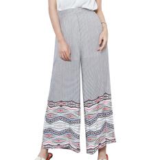 La Vie Wide Leggings Harem High Waist Loose Geometric Print Pants (White&Red)