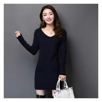 Ladies Fashion T-Shirt Dress Lengan Panjang Dress Luisa / Dress Santai Kasual / Kaos