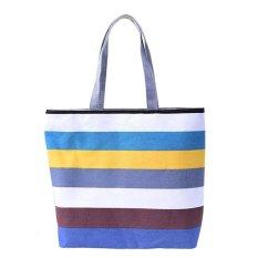 Lady Fine Lines Shopping Handbag Shoulder Canvas Bag Tote Purse Khaki
