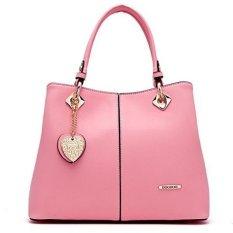 Lady's Fashion Tote Handbag PU Leather Lady's Handbag Sling Shoulder Bag Pink