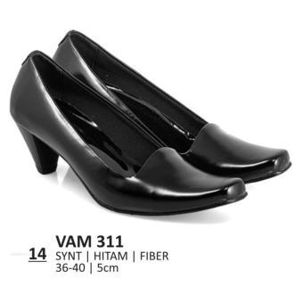 Lagenza Sepatu kerja elegan wanita kasual formal simply slip on synthetic leather black low-mid heels lze014
