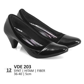 Lagenza Sepatu kerja elegan wanita kasual formal synthetic kulit leather low-mid heels lze012