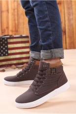 LALANG Casual Men High Cut Canvas Shoes Sneakers Sports Brown