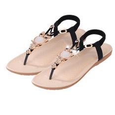 LALANG Fashion High Quality Flat Plus Size Sandals Women Shoes Comfort Rhinestone Flip-flops Black (Intl)