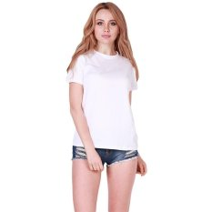 LALANG Fashion Women Letter Printed Short Sleeve T-Shirt O-Neck Tops ST-END (White)
