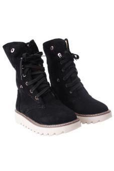 LALANG Fashion Women Winter Boots Shoes Casual Warm Matte Snow Boots Black