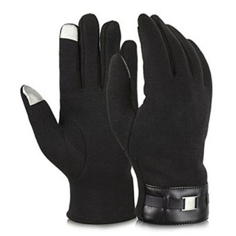 LALANG Men Touch Screen Gloves Warm Outdoor Sports Driving Cycling Winter Mittens (Black) - intl