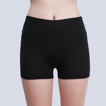 ... LALANG Women Shorts Casual Patchwork Elastic Yoga Fitness Sport Running Shorts Black Intl