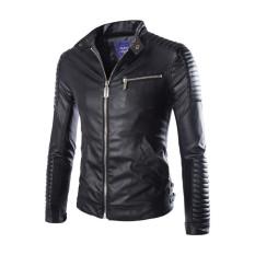 LANBAOSI Men's Vintage Motorcycle Faux Pu Leather Slim Fit Stand Collar Jacket Black (Intl)