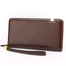 Large Capacity Genuine Cowhide Leather Wallet Men's Handbag Leisure Fashion Purse (Coffee) - Intl