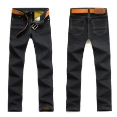 Large Size Men's Winter Polar Thick Warm Jeans New Men's Fashion Straight Slim Denim Pants Black Jeans Long Jeans (Black) - Intl