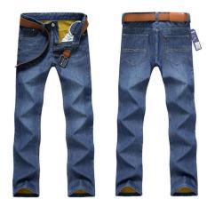 Large Size Men's Winter Polar Thick Warm Jeans New Men's Fashion Straight Slim Denim Pants Black Jeans Long Jeans (Light Blue) - Intl