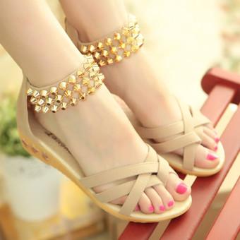 de9c0d5a3bee9f LCFU764 Women Summer wedges Sandals Shoes Open Toe Beach Flip Flops Slipper  Sandal-beige