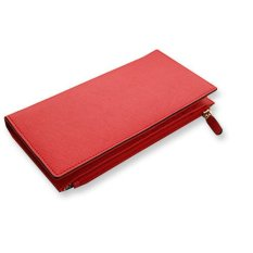 Leather Long Wallets Genuine Cowhide Leather Stylish Pasetel Tone Color Wallet with Zip Pocket - Red