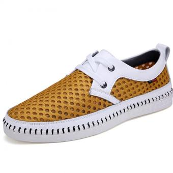 Leather Mesh Breathable Shoes Mesh Shoes Soft Soled Shoes (Yellow) - Intl