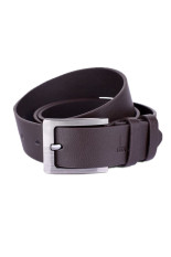 Leather Single Prong Belt Business Casual Metal Buckle Brown