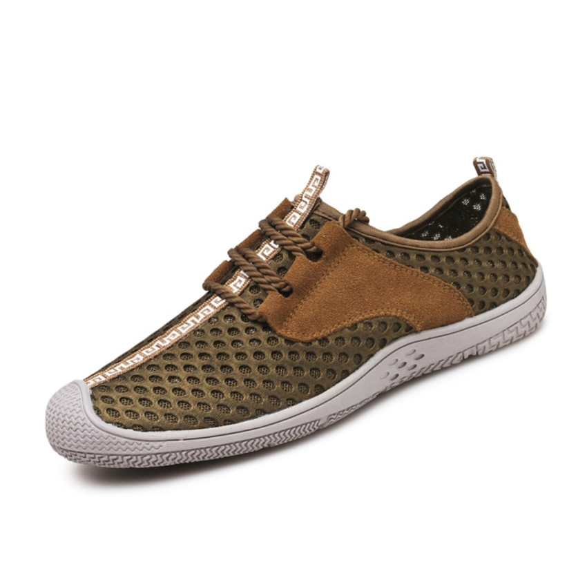 Lechgo Men Trend Hiking Shoes Leica Mesh Breathable Casual shoes Lace-Up (Brown) NYY093 - intl