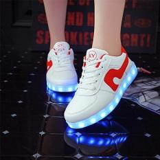 LED Light Women Men Shoes Fashion Sneakers Flat PU Breathable Casual Sports Shoes USB Charging (White Red) - Intl