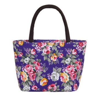 leegoal Fashion Women Canvas Floral Bag ,Purple - intl