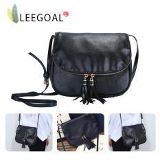 Leegoal Perempuan PU Kulit Crossbody Bag Rumbai Shoulder Bags Hitam .