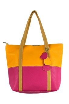 Leisure Handbag Tote Bag (Rose Red And Yellow)