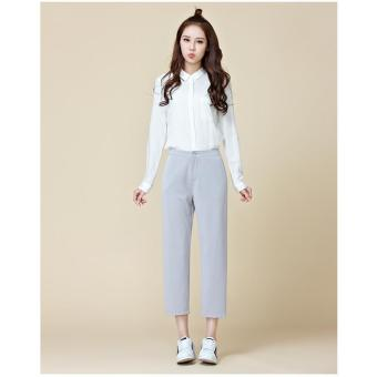 b69999c2e6 Light Grey Womens Pants New Spring Plus Size Korean Style Straight Pants  Women Trousers Loose Solid