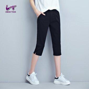 Likener Trend Casual Calf-length Celana Plus Size Harem Celana (Black)
