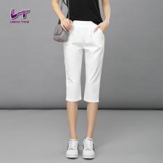 Likener Trend High Elastic Calf-length Celana Celana Regular Harem Celana Women Celana (White) (Intl)