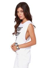 Linemart Letter Printed Sleeveless T- Shirt (White) (Intl)