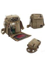 Linemart Men Messenger Bags Canvas Vintage Bag Men Shoulder Crossbody Bags Outdoor Travel Bag (Brown)