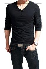 Linemart V-Neck Men's Long Sleeve Casual T-Shirt Tops (Black) (Intl)