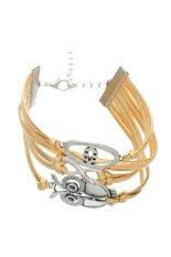 Lip Owl Cute Gold Leather Bracelet Gold