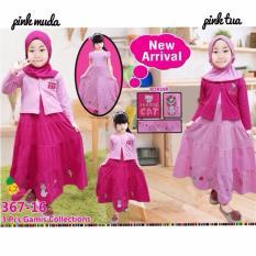 Little pineapple 3in1 Setelan Muslim Hijab Gamis Cardigan Kucing Pink Anak 4-8Y