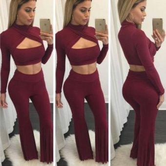 Long Sleeve Crop Top + Wide Leg Long Pants - Intl
