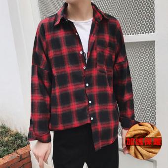 Longgar Korea Fashion Style pria lengan panjang remaja kemeja kotak-kotak baju kemeja (Ditambah