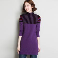 LOOESN Korea Fashion Style merajut pullover perempuan bottoming kemeja sweater baru (JT77603 violet)