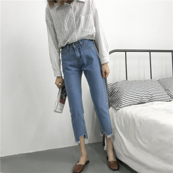 FEMALE NEW STYLE HIGH WAISTED ANKLE LENGTH PANTS CASUAL PANTS DAN KAKI TIGA .