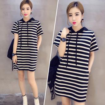 LOOESN Korean-style mid-length short sleeved female midi-skirt dress (5805