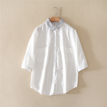 LOOESN Korean-style spring and summer versatile models cotton shirt (Putih)