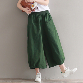 LOOESN versatile cotton linen solid color New style ankle-length pants (Tentara hijau)